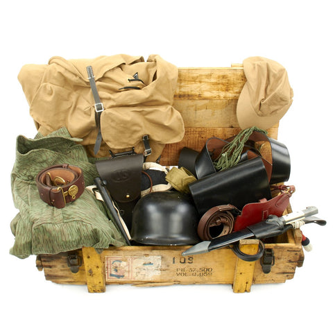 Trunk of Assorted Grade 2 Original Military Antiques and Reproductions - Box 12 Original Items