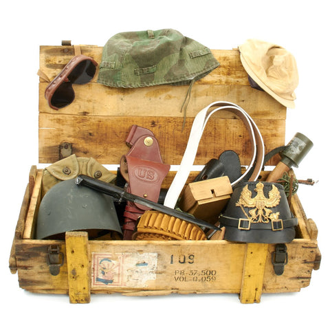 Trunk of Assorted Grade 2 Original Military Antiques and Reproductions - Box 13 Original Items
