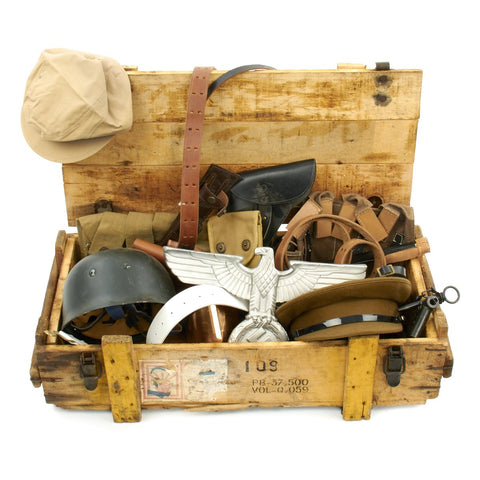 Trunk of Assorted Grade 2 Original Military Antiques and Reproductions - Box 14 Original Items