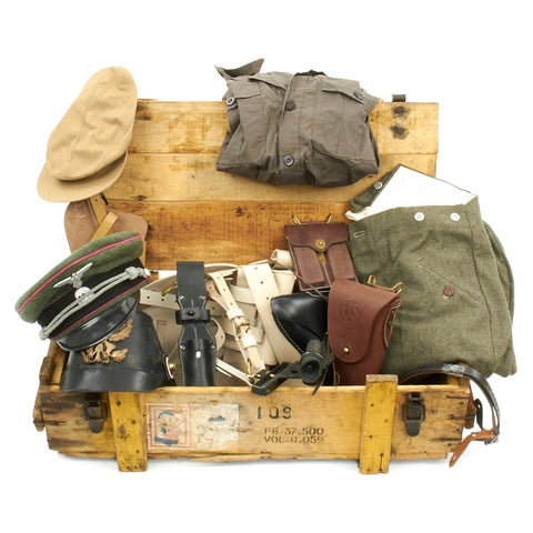 Trunk of Assorted Grade 2 Original Military Antiques and Reproductions - Box 16 Original Items