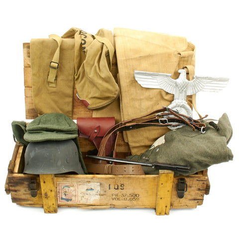 Trunk of Assorted Grade 2 Original Military Antiques and Reproductions - Box 17 Original Items