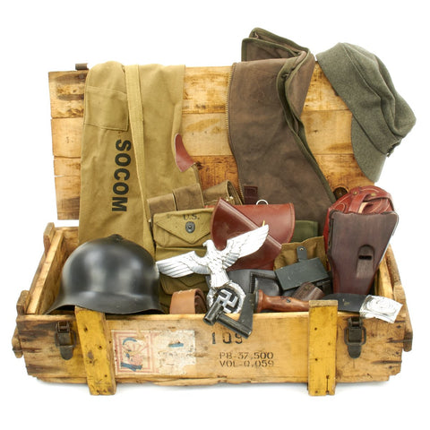 Trunk of Assorted Grade 2 Original Military Antiques and Reproductions - Box 18 Original Items