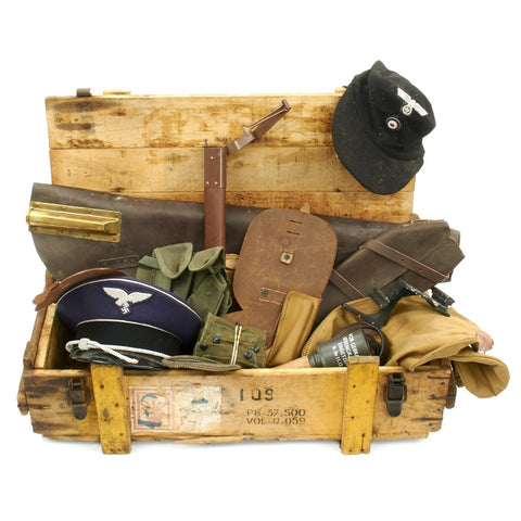Trunk of Assorted Grade 2 Original Military Antiques and Reproductions - Box 21 Original Items
