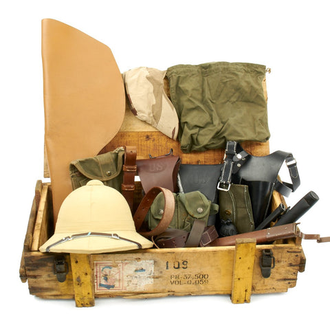 Trunk of Assorted Grade 2 Original Military Antiques and Reproductions - Box 19 Original Items