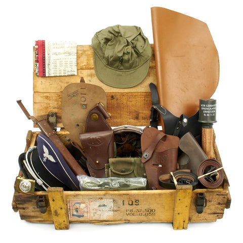 Trunk of Assorted Grade 2 Original Military Antiques and Reproductions - Box 20 Original Items