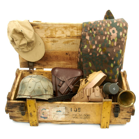 Trunk of Assorted Grade 2 Original Military Antiques and Reproductions - Box 22 Original Items