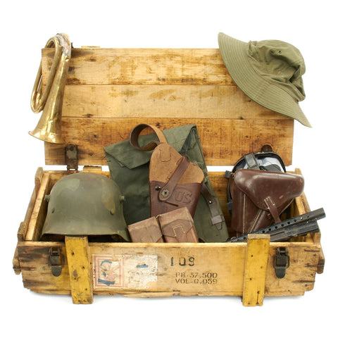 Trunk of Assorted Grade 2 Original Military Antiques and Reproductions - Box 23 Original Items