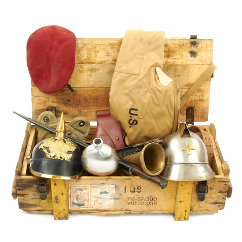 Trunk of Assorted Grade 2 Original Military Antiques and Reproductions - Box 24 Original Items
