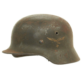 Original German WWII M40 Single Decal Luftwaffe Helmet named to Flg. Fahrland - Q66