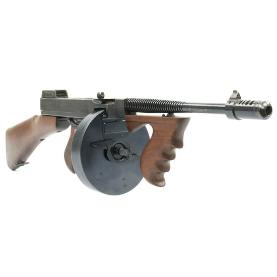Original U.S. WWII Thompson 1928 Display Submachine Gun with Drum and Vertical Foregrip - Gangster Style