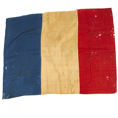 Original French WWII National Flag Captured and Signed by German SS Troops