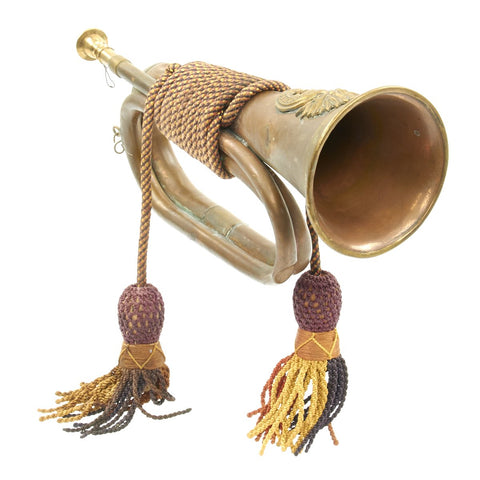 Original British WWI Regimental Bugle with Tasseled Cord Wrapping - Royal Welsh Fusiliers Original Items
