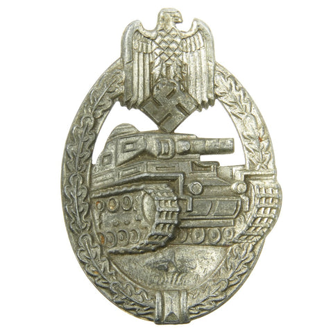 Original German WWII Panzer Assault Tank Badge - Silver Grade with Solid Back Original Items