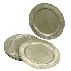 Original British 18th Century Naval Set of Six Pewter Plates Named to H.M.S. Africa - dated 1763