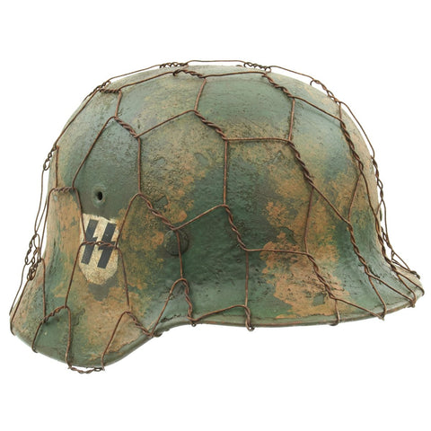 Original German WWII M40 Refurbished Double Decal Normandy SS Helmet with Original Liner - Stamped EF64