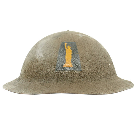 Original U.S. WWI M1917 Helmet with Original Paint from the New York 77th Infantry Division - The Lost Battalion Original Items