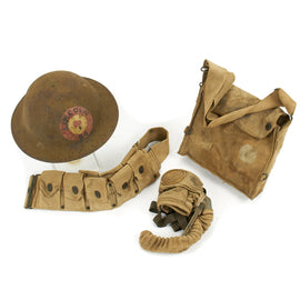 Original U.S. WWI 84th Infantry Lincoln Division Helmet with Gas Mask and Belt Grouping