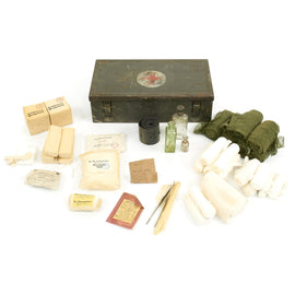 Original German WWII Verbandkasten Medic First Aid Set in Steel Chest