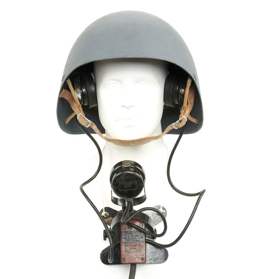 Original U.S. WWII Navy USN MK2 Talker Flak Helmet with Rare D173013 Headset and Microphone