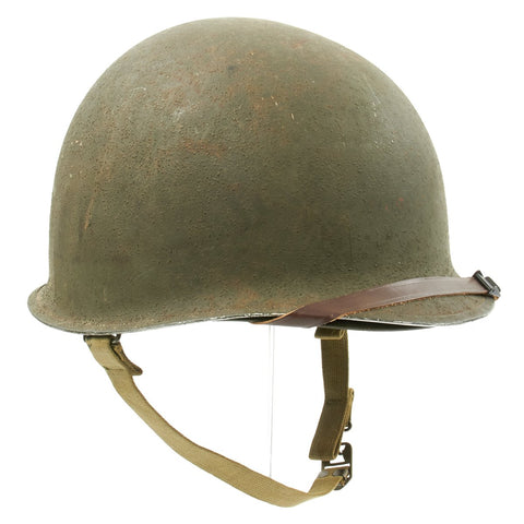 Original U.S. WWII 1943 M1 McCord Fixed Bale Front Seam Helmet with Firestone Liner Original Items