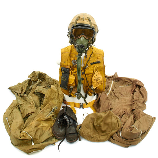 Original U.S. Navy 1950s Gentex H-4 Flight Helmet Grouping - Life Vest, Flight Suits, Oxygen Mask, Goggles