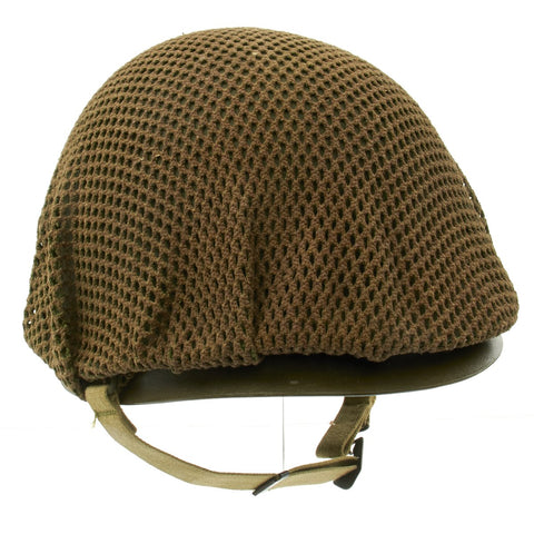 Original U.S. WWII M1 McCord Front Seam Swivel Bale Westinghouse Liner Helmet with Net and Instructions Original Items