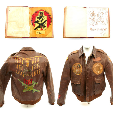 Original U.S. WWII B-24 Brokan Dollah 759th Bomb Squadron Named A-2 Flight Jacket with Diary