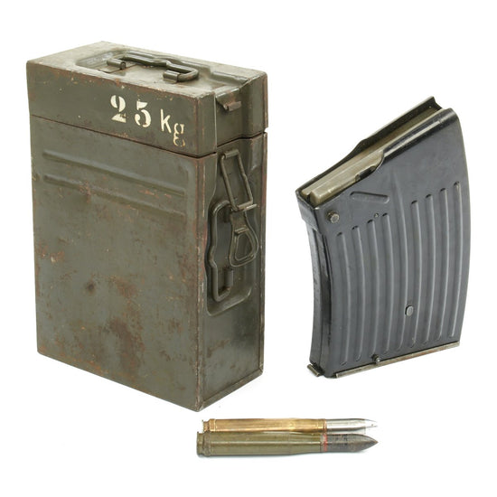Original German WWII Flak 38 Anti-Aircraft Gun 20 mm Magazine with Case and Inter Rounds - Flakvierling 38