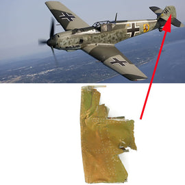 Original German WWII Luftwaffe Messerschmitt Bf 109 Crashed Rudder Section - Identified Plane