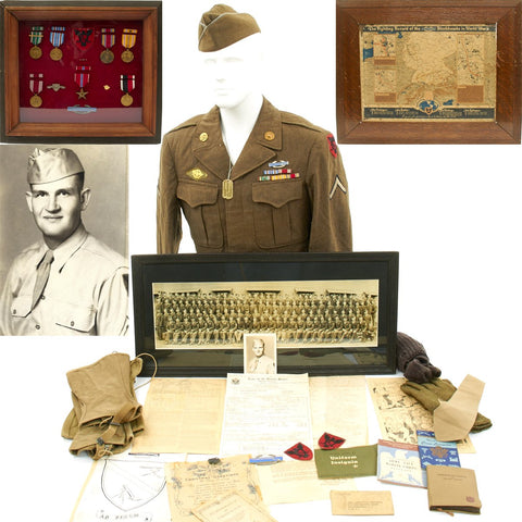 Original U.S. WWII 86th Infantry Division Bronze Star Grouping with Framed Medals and Map Original Items