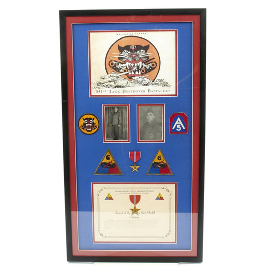 Original U.S. WWII 651st Tank Destroyer Battalion 231st Field Artillery Framed Grouping