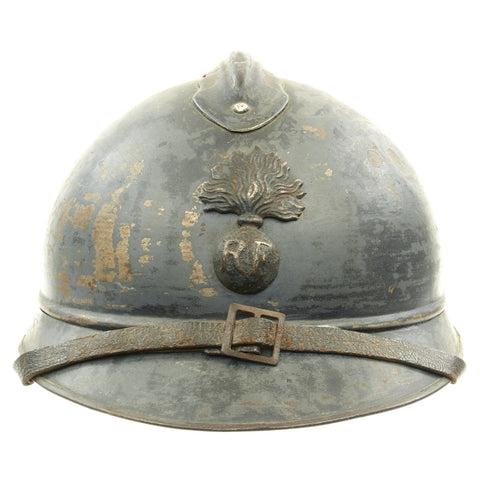 Original French WWI Model 1915 Adrian Helmet with RF Badge - Horizon Blue