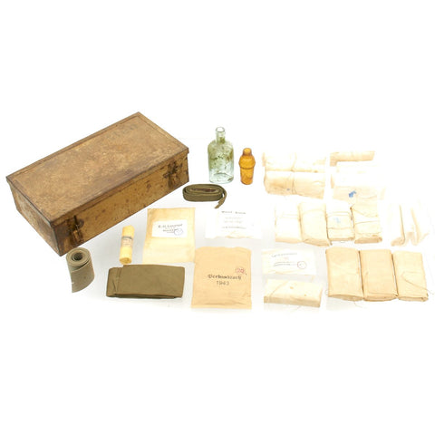 Original German WWII DAK Afrika Korps Verbandkasten Medic First Aid Steel Chest with Dated Contents Original Items