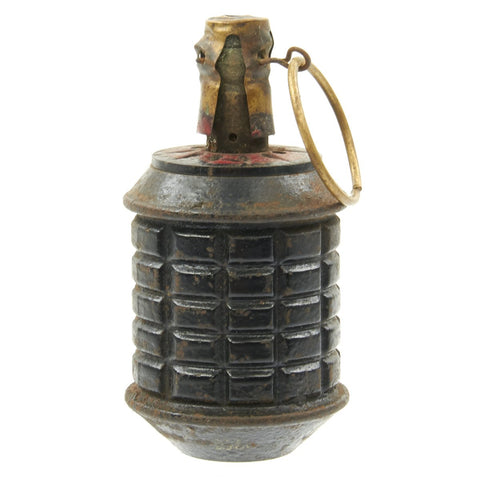 Original Japanese WWII Type 97 Fragmentation Hand Grenade with Fuse and Cover - Inert Original Items
