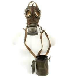 Original Imperial German WWI M1917 Ledermaske Gas Mask with Can - Dated 1917