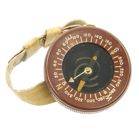 Original U.S. WWII Paratrooper Intact Liquid Filled Wrist Compass by Taylor with Wrist Band Original Items