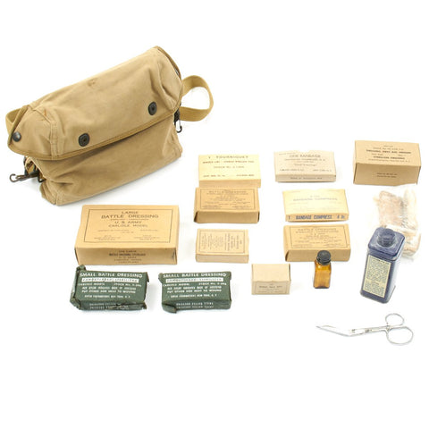 Original U.S. WWII U. S. Navy First Aid Medical Corpsman Medical Bandage Kit with Bag