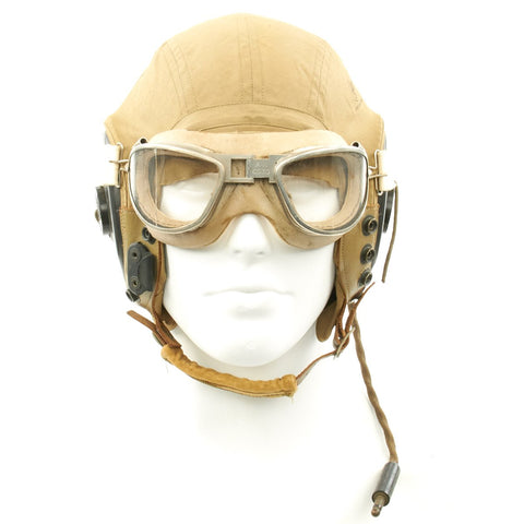 Original U.S. WWII Army Air Force Aviator Flight Set - AN6530 Clear Goggles, AN-H-15 Helmet, R-14 Receivers Original Items