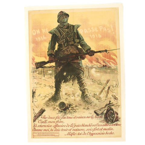 Original French WWI No One Will Pass Propaganda Poster by Maurice Neumont Original Items