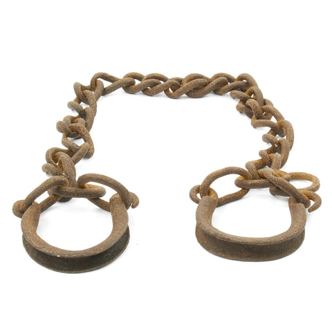 Original British 18th Century Wrought Iron Chain Gang or Slave Trade Leg Irons Original Items