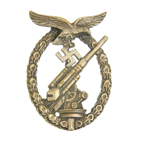Original German WWII Early War Luftwaffe Flak Artillery Badge by Juncker