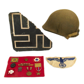 Original U.S. WWII Named Bring Back Set - M1 Helmet, Storch Plane Swastika, Medals, Patches