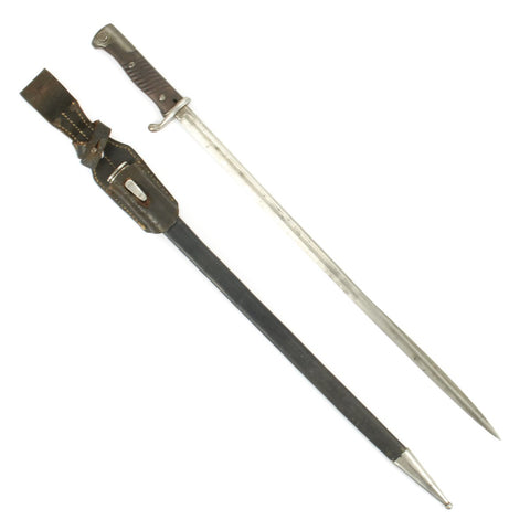 Original German-made M1898 n/A Peruvian GEW 98 Mauser Bayonet with Leather Scabbard and Frog - c.1909