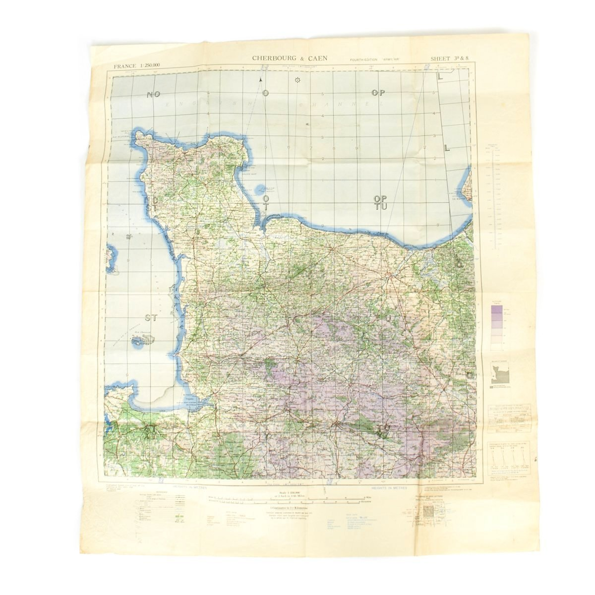 Original U.S. WWII D-Day Map of Normandy - Cherbourg and Caen France ...