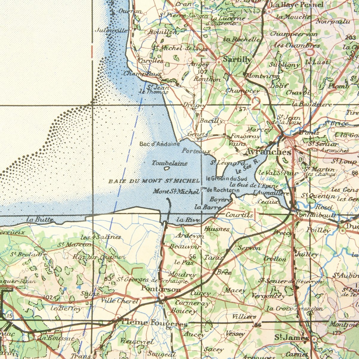 Original U.S. WWII D-Day Map of Normandy - Cherbourg and Caen France on