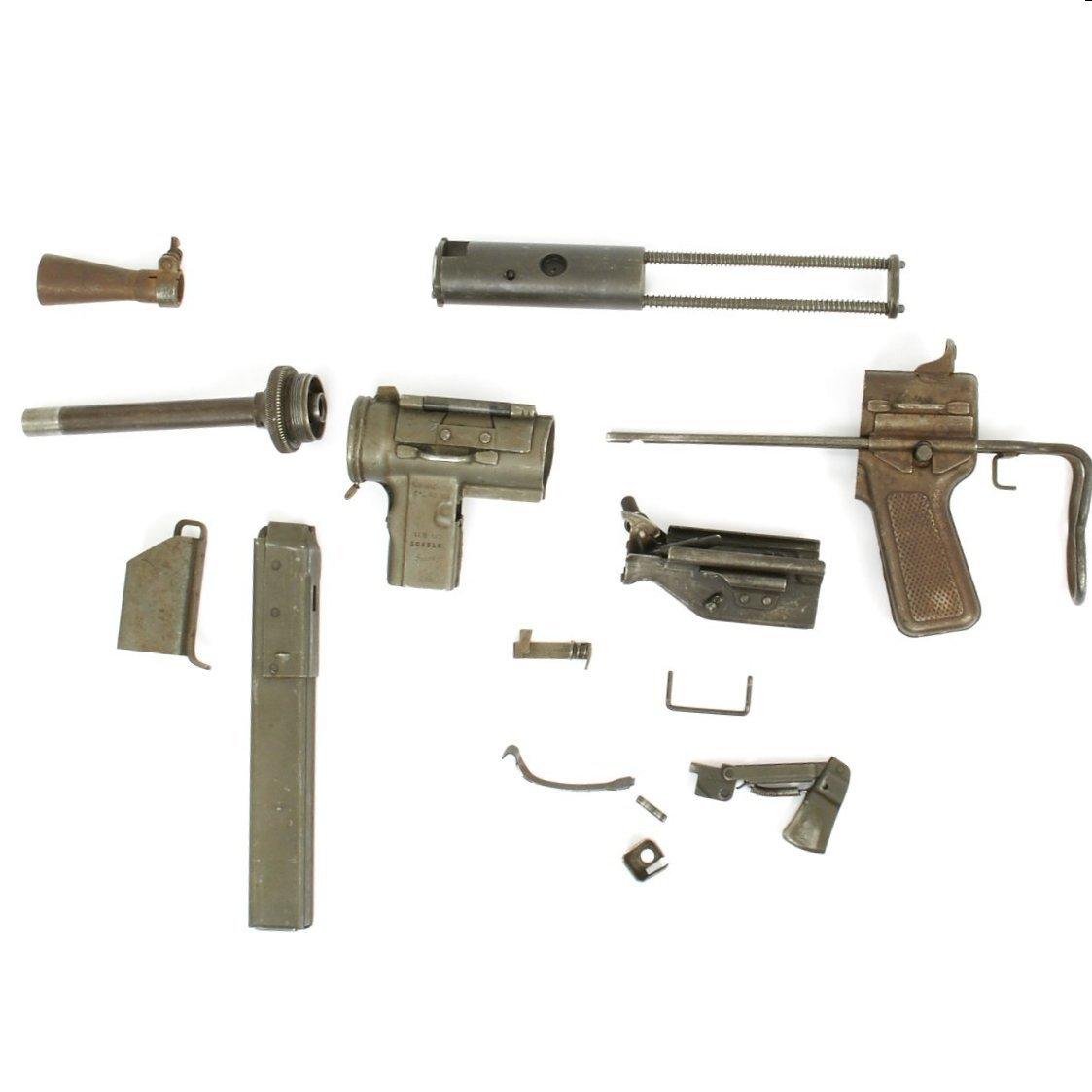 Original U S  WWII M3A1 Grease Gun Parts Set by Guide Lamp Compnay
