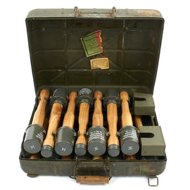 Original German WWII M24 Stick Grenade Case Dated 1940 with Packing Labels, Internal Rack and Grenades