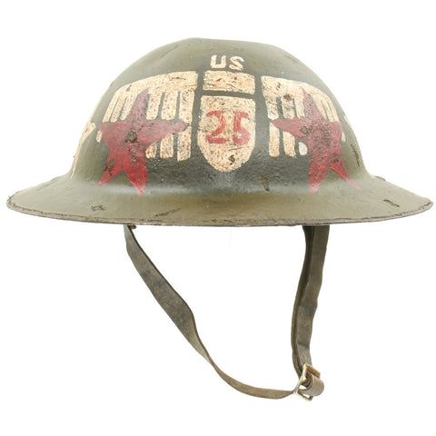 Original U.S. WWI 25th Aero Squadron M1917 Refurbished Doughboy Helmet Original Items