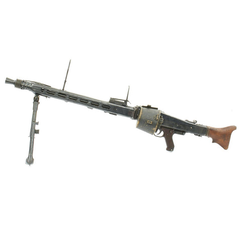Original German WWII MG 42 Display Machine Gun marked dfb with A.A. Sights and marked Belt Carrier Original Items