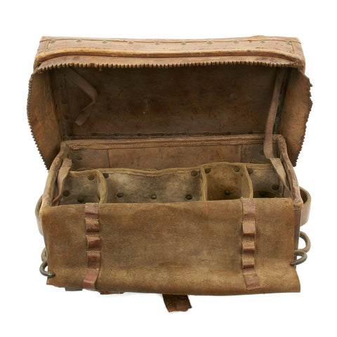 Original British Victorian Leather Cannon Caisson Storage Trunk with Iron Fittings